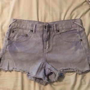 Free People lavender destructed denim shorts Sz 27
